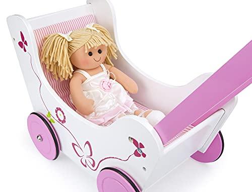 Leomark Schmetterling Lauflernwagen Aus Holz für Kinder - PINK - Puppenwagen inkl. Bettwäsche, Lauflernhilfe mit gummierten Holzrädern + Stoffpuppe