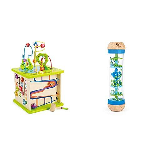 Hape E1810 - Motorikwürfel Kleine Tierchen, aus Holz, ab 12 Monate & E0328 - Blauer Regenmacher, Musikspielzeug, ab 0 Monaten