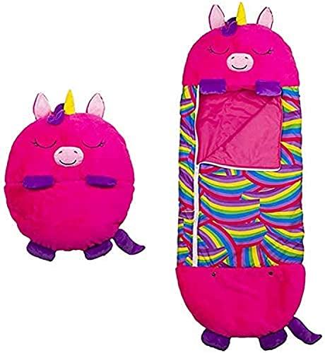 Thstheaven Großes Happy Kids Nappers Spielkissen und Schlafsack, 2-in-1 Cartoon-Tier-Schlafkissen, bequem, lustiger Schlafsack, faltbar, weich, Tierschlafsack für Kinder, Überraschung (rosarot)