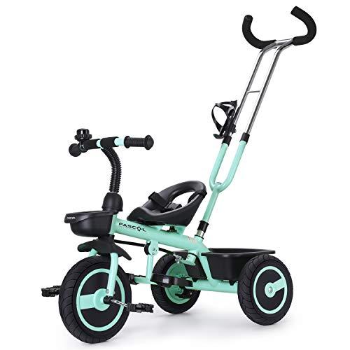 Fascol Kinder Dreirad mit Lenkbarer Schubstange 2 in 1 Kinderdreirad Baby Kinderwagen mit Flüsterleise Gummireifen Belastbarkeit bis 30 kg (Hellgrün)