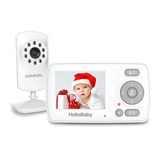HelloBaby Babyphone mit Kamera, Infrarot-Nachtsicht, VOX-Modus, Schlaflied-Wiedergabe, Zwei-Wege-Audio, HB30