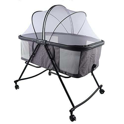 Klappbar Babywiege Babybett Beistellbett Baby, Stubenwagen Reisebett Kinderbett Mit Halterung+Bremsbares Universalrad+Moskitonetze