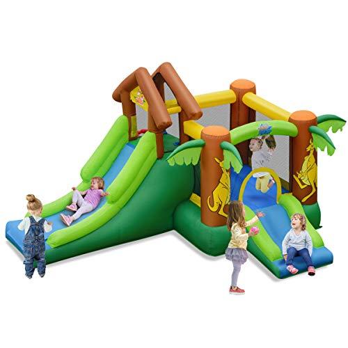 RELAX4LIFE Hüpfburg im Känguru-Muster, Aufblasbare Springburg mit Trampolin & 2 Rutschen & Bällebad, inkl. 30 Bälle, Hüpfschloss bis 135 kg belastbar, für Kinder 3-10 Jahre, 390 x 340 x 230 cm, bunt