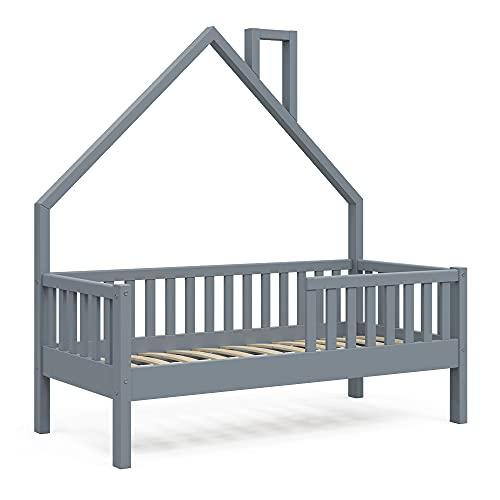 VitaliSpa Hausbett Kinderbett Spielbett Noemi Anthrazit mit Zubehör Rausfallschutz (Bettgestell, 70 x 140 cm)