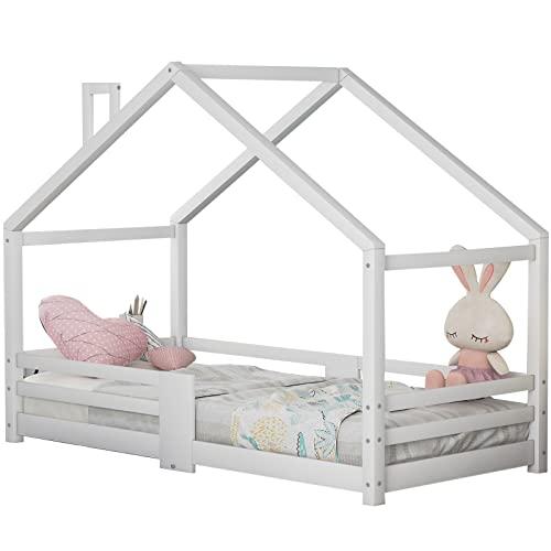 Kinderbett Hausbett, Schönes Holzbett mit Schornstein Kiefernholz Haus Bett for Kids mit Robuste Lattenroste und Rausfallschutz für Kinder- und Jugendzimmer (ohne Matratze) (Weiß, 90 x 200 cm)