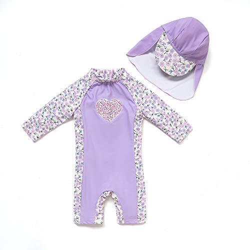 BONVERANO Kleiner Mädchen Badeanzug EIN Stück Mit Badekappe UV-Schutz 50+ (Lavendel, 3-6Months, 3_Months)