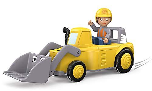 Toddys by siku 0126, Luke Loady, 2-teiliger Radlader, Zusammensteckbar, Inkl. beweglicher Spielfigur, Hochwertiger Schwungradmotor, Gelb/Grau, Ab 18 Monaten