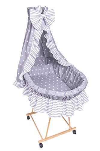 Amilian® 9tlg Textile Ausstattung für STUBENWAGEN Bollerwagen Himmel Matratze Baby Bettwäsche Sternchen Grau