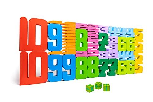 Natureich Zahlenbausteine Montessori Mathematik Spielzeug mit 1x1 für Grundschüler / Bunte Holzbausteine zum Rechnen / Zahlen Spiel & Spaß für Rechenprofis / Lernen leichtgemacht