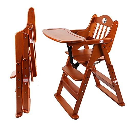 DUNAKE 3 In 1 Holz Treppenhochstuhl,Baby Hochstuhl Ab Geburt Inkl.Aufsatz Für Neugeborene-mitwachsend,4 Stufen Einstellbare Höhe, Traggewicht: 150 Kg (mit Rädern) (Color : Brown)