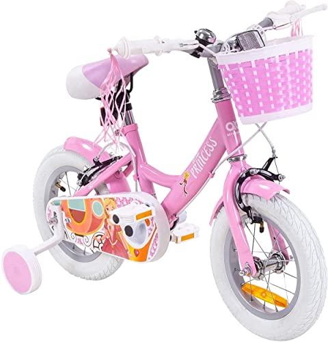 Actionbikes Kinderfahrrad Princess - 12 Zoll - Felgenbremsen - Freilauf - Kettenschutz - Stützräder - Luftbereifung - Kinder Fahrrad - Laufrad - Rosa - Prinzessinnen-Design - Von 2-5 Jahren