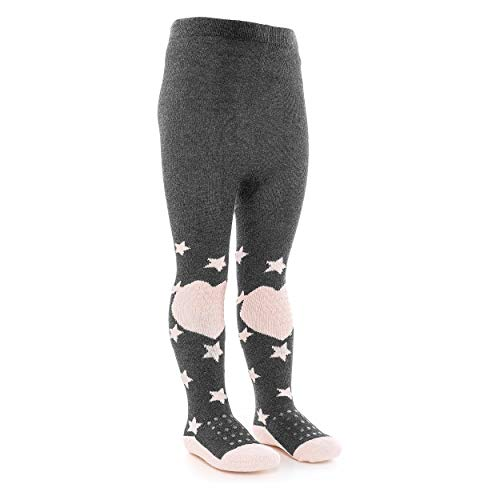 LaLoona Baby Krabbelstrumpfhose mit ABS Sohle - elastische Kinder Strumpfhose mit Anti Rutsch Noppen - Sterne Rosa - 74/80