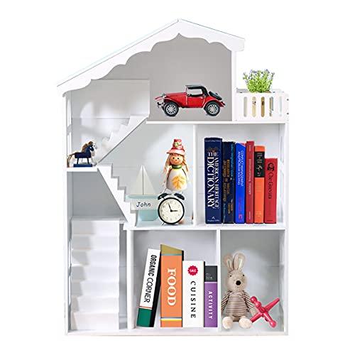 WODENY Puppenhaus Holz Bücherregal Kinder Weiß Dollhouse Cottage für Kinder, Mädchen, Jungen Kinderzimmer Schlafzimmer