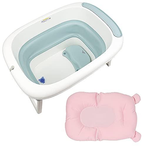 Babybadewanne faltbar mit Badewannenkissen, Babywippe für Babys mit kleinem Sitz, Geburt bis 6 Jahre (blau, 78 × 56 × 47 cm)