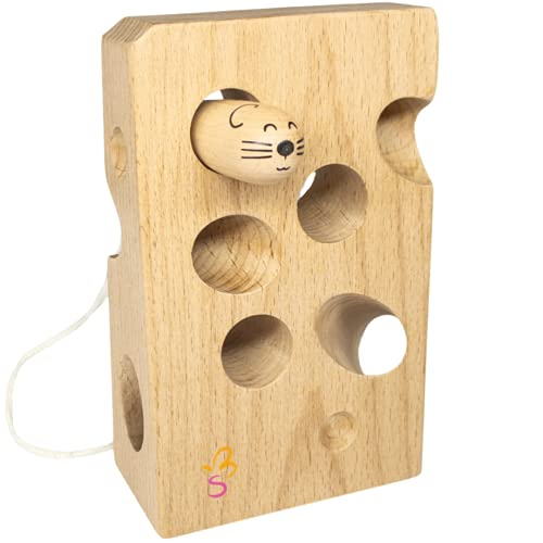 SCHMETTERLINE Fädelspiel aus Holz mit Käse und Maus _ Montessori Motorik-Spielzeug für Kinder ab 2 Jahre aus Natur-Buchenholz (Fädelkäse aus Natur-Buche mit Maus)