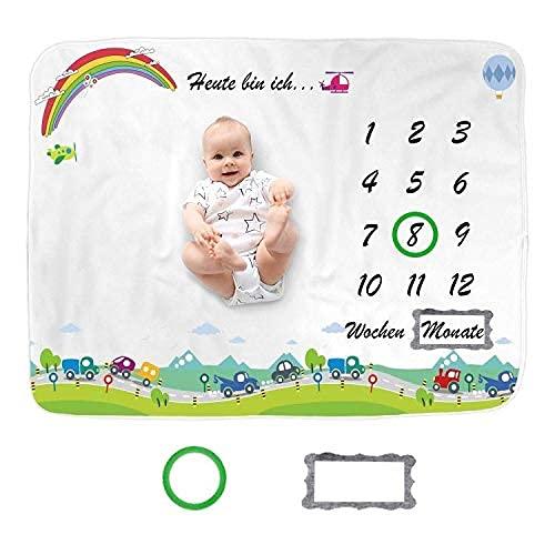 Decke für Jungen & Mädchen Geschenk für Neugeborene' Baby Monats Decke mit Autos Bilder