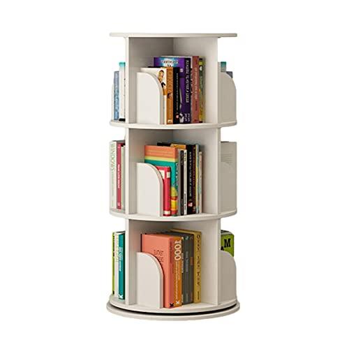GWXJZ CD Regal CD-Aufbewahrungsregal CD Lagergestell - 360 ° drehbares Bücherregal für Kinder, CD Disc-Display-Stand, Bodenhölziges Bücherregal für Haus/Büro/Studie, weiß (Size : 3 layer/54 * 102CM)