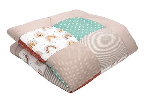 ULLENBOOM® Baby Krabbeldecke 100x100 cm gepolstert Regenbogen (Made in EU) - Krabbeldecke für Baby mit 100% ÖkoTex Baumwolle, ideal als Babydecke, Laufgittereinlage & Spieldecke