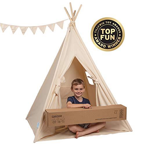 Canicove Tipi Zelt Für Kinder - Faltbares Indoor & Outdoor Set Baumwolle Naturfarben mit Massivholzpfosten & Jux Flaggen für 2 Jungen & Mädchen (Naturfarben) Segeltuch Wigwam