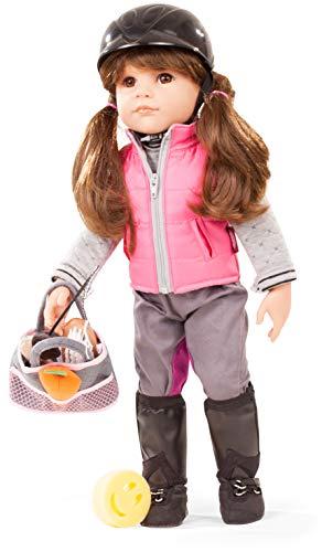 Götz 1859087 Hannah geht reiten Puppe - Loves Horseback Riding - 50 cm große Stehpuppe, braune Haare, Pony und braunen Augen - 20-teiliges Set