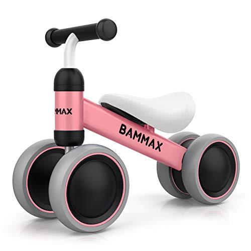 Bammax Kinder Laufrad Lauflernrad Balance Fahrrad ohne Pedale Dreirad Spielzeug für 1 Jahr, Erstes Baby Laufrad für Jungen Mädchen, Empfohlenes Alter: 10-24 Monate, Rosa