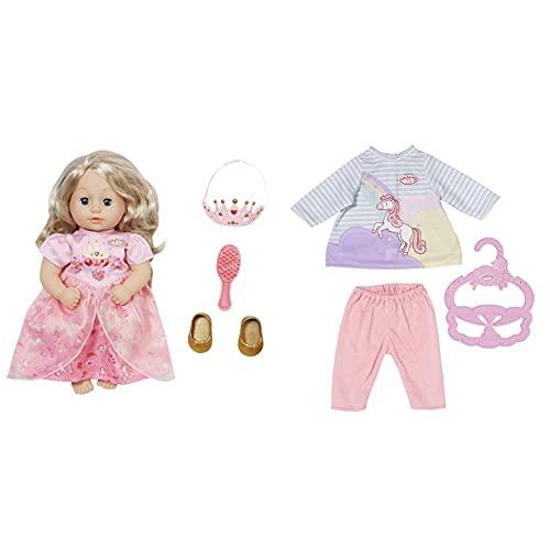 Zapf Creation 703984 Baby Annabell Little Sweet Princess Prinzessinen Puppe mit Haaren und Schlafaugen & 704134 Baby Annabell Little Sweet Kleid 36 cm - Pferde Puppenkleid