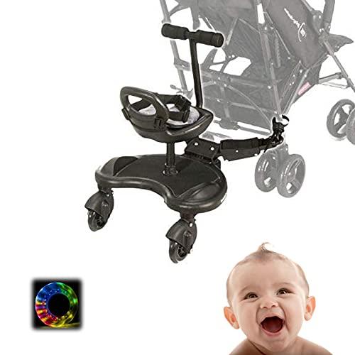 EFGSbed Kiddyboard, Trittbrett Kinderwagen Board mit Sitz, Universal Buggyboard mit Sicherheitsgurt, Buggy bis 25 kg für Kinder, Kleinkinder, Jungen und Mädchen,with Seat