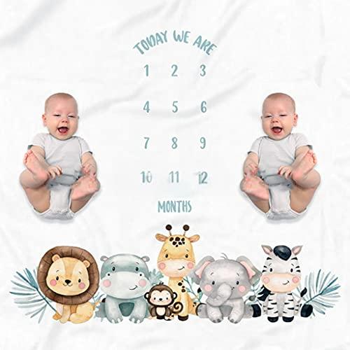 Mentin Decke für Baby-Fernglas, Decke Schritt im Monat, personalisiertes Geschenk für Baby-Partys, Babydecke, Monatsdecke, 100 x 130 cm