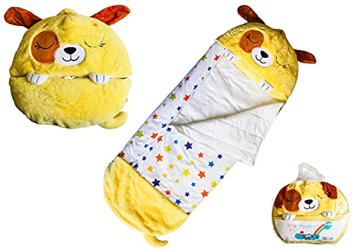 Doggy SnooZy (Gelb) - Snoozy KIDS Kissen Schlafsack Kind 140 x 50 cm. Ideal für Nap; Haar-Tasche, Ideal Camping. Eine hübsche Doudou Wer dreht sich in Tasche Nap