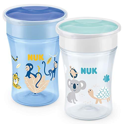 NUK Magic Cup Trinklernbecher   auslaufsicherer 360°-Trinkrand   8+Monate   BPA-frei   230ml   Affe & Koala (blau)   2 Stück