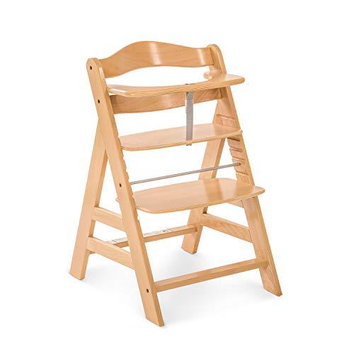 Hauck Holz Hochstuhl Alpha + für Kinder ab 6 Monaten bis 90 kg belastbar / verstellbar / mitwachsend / für Babys ab Geburt nutzbar in Kombination mit Alpha Bouncer Newborn Set / braun natur