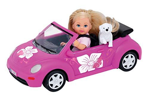 Simba 105731539 - Evi Love Evi's Beetle / Evi mit Auto/ Auto: 22cm / mit Hund / Ankleidepuppe / 12cm, für Kinder ab 3 Jahren