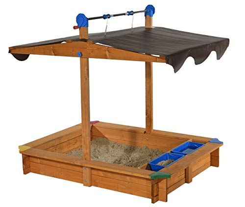 GASPO Sandkasten mit absenkbarem Dach Lea | Sandkiste mit Sonnenschutz und Matschfach | 137 x 105 x 120 cm | Ideal für den Garten