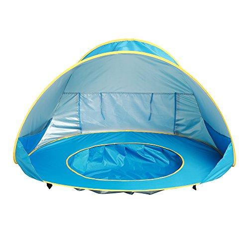 Baby Pool Zelt Faltbare Baby Strand Zelt Automatische Pop-up-Zelt Campingzelt Sonnenschutz Portable Beach Cabana UV Schutz Sun Shelter für Kleine Kinder (Blau)