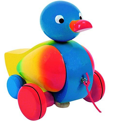 alles-meine.de GmbH Ziehtier -  lustige Ente in bunt  - aus Holz / Wackeltier - Flügel & Kopf wackelt - flüsterleise - mit Schnur - Ziehfigur als Nachziehtier - Tier Holzfigur ..