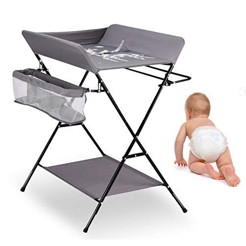 Wickeltisch Klappbar Wickelkommode Baby Wickelkombi Mobiler Wickelauflage, Sicherheitsgurt und Ablagefächern, Platzsparend & stabil - Grau