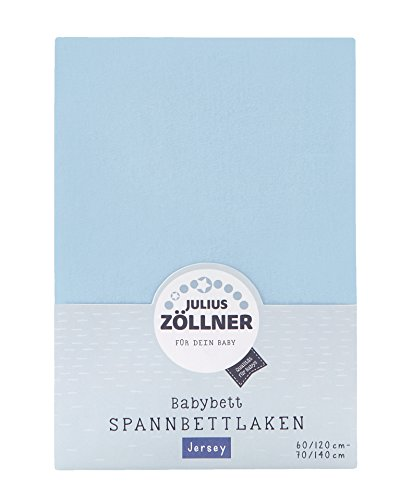 Julius Zöllner 8320147760 - Spannbetttuch Jersey für das Kinderbett, Größe: 60x120 / 70x140 cm, Farbe: hellblau