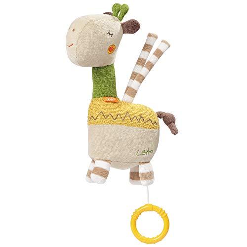 Fehn 059083 Mini-Spieluhr Giraffe Lotta – Kuschelige Spieluhr mit herausnehmbarem Spielwerk – Melodie 'Schlaf Kindlein schlaf' – Mit Befestigung – Für Babys ab 0 Monaten – Größe: 20 cm