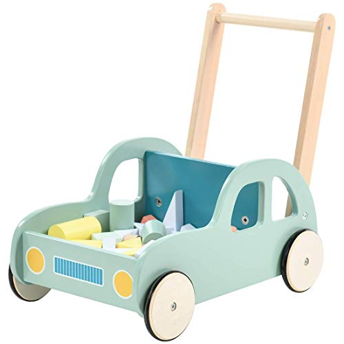 Labebe Kinder Lauflernwagen Holz Auto mit Bauklötzen Baby Lauflernhilfe Grün Push Pull Spielzeug Kinderwagen Activity Babywalker ab 1 Jahre