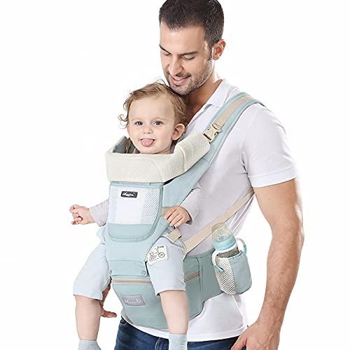 JJGS Babytrage Für Neugeborene Ab Geburt, Vorder- Und Rückseite des Babyträgers, Kann Baby-Taille-Hocker, Ergonomische Baby-Gesäßsitz Aufbewahren, Geeignet Für 0-36 Monate Alte Babytrage (grün)
