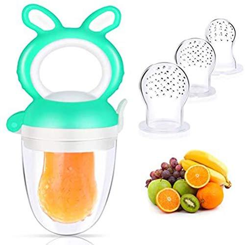 Tumnea Fruchtsauger Baby, Schnuller Gemüse Sauger, Silikon Schnuller Beißring, Sicher + BPA-frei, mit Sauger Ersatz für Obst, Beikost, Baby Essen und Zahnungshilfe Baby