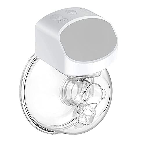 QIUXQIU Elektrische Milchpumpen Tragbar Automatischer Reise-Muttermilchabsauger Freisprech-Milchpumpe Drahtlose Mini-Tragbare Einzel-Stillpumpe USB-Akku Muttermilchpumpe (Neu) (grau)