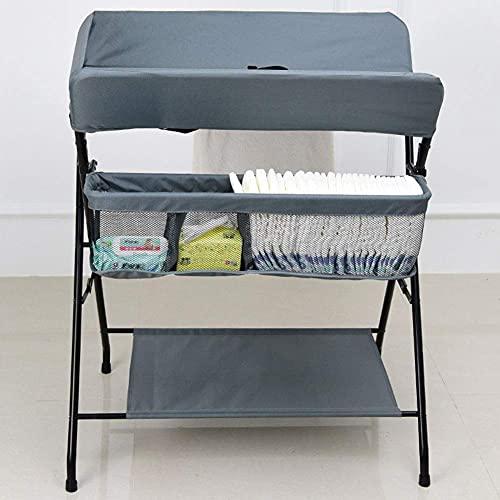 Wickeltisch Wickeltisch und Aufbewahrungstasche, Klappbarer Wickeltisch, Säuglingspflegestation, Neugeborenen-Badestation (Farbe : Schwarz)