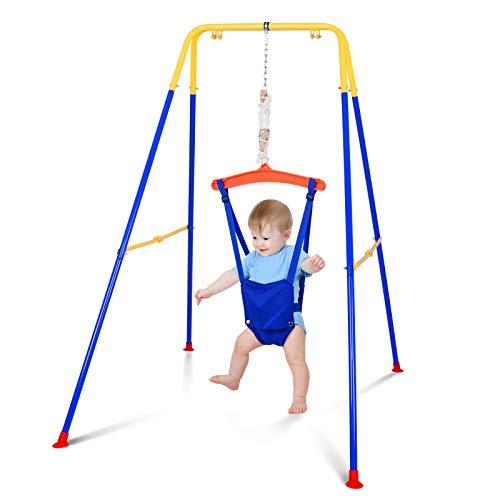 Sunix Babyschaukel mit Schaukelgerüst, Bumper Jumper Türhopser für Babys mit stabilem faltbarem Ständer, Baby Jumper mit verstellbarem Sicherheitsgurt für Kleinkinder 3 Monaten bis 3 Jahren
