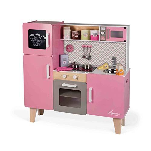 """Janod J06571 """"Macaron"""" Maxi-Holzherd für Kinder, ausgestattet mit einem Kühlschrank und einer Mikrowelle, Fantasiespiel, mit 15-teiligem Zubehör, für Kinder ab 3 Jahren, Rosafarben"""
