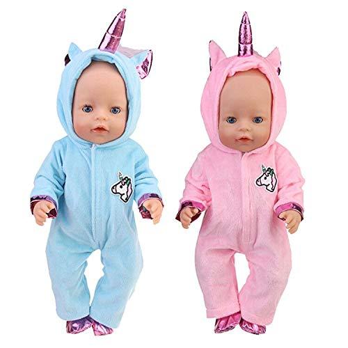 WENTS Einhorn Kleidung für Puppen 2 Stück Einhorn Kleidung Outfits Puppenkleidung Kostüm Kleider für 18 inch Baby Puppen ( Blau /Rosa)