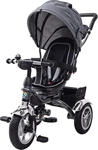 Miweba Kinderdreirad Schieber 7 in 1 Kinderwagen - 360° Drehbar - Faltbar - Luftreifen - Heckfederung - Laufrad - Dreirad - Schubstange - Ab 1 Jahr (Grau)