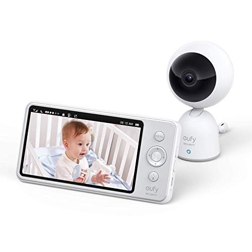 eufy Security Babyphone, Baby Monitor 720p Auflösung, 5 Zoll Display, starke Akkuleistung, beidseitige Audiofunktion, präzise Nachtsicht, mit Schlaflied-Player, mit Temperaturmessung