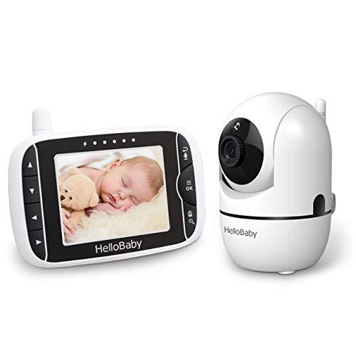 HelloBaby Video Babyphone mit Fernbedienung Pan-Tilt-Zoom,Temperaturüberwachung, Wiegenlied, Zwei-Wege-Audio, inkl. Wandhalterung