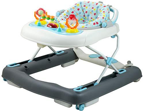 Bieco Baby Lauflernhilfe   3in1   Gehfrei Baby ab 6 Monaten   Baby-Walker   Spielcenter mit Aktivität & Melodien   Blau/Weiß  kippsicher   höhenverstellbar   Wippfunktion